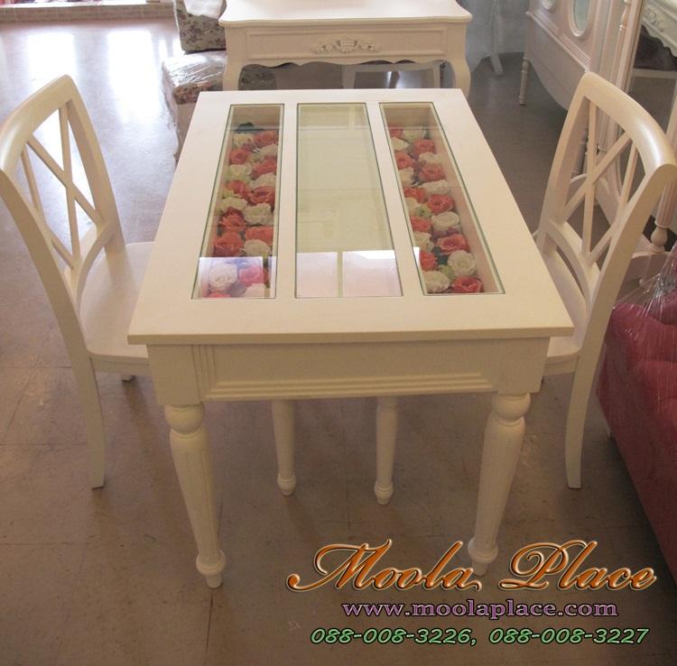 โต๊ะรับประทานอาหาร สีขาวสไตล์วินเทจ แบบโต๊ะอาหหารวินเทจ
