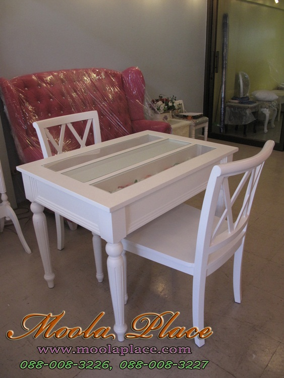 โต๊ะรับประทานอาหาร สีขาวสไตล์วินเทจ