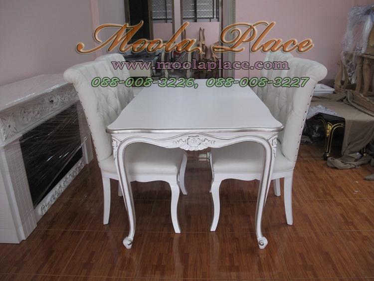 โต๊ะรับประทานอาหารแกะลายหลุยส์ ทำสีพ่นขาว Top ทำสีธรรมชาติ ขนาด 160 x 90 x 75 ซม. รับผลิตเฟอร์นิเจอร์ไม้จริงสไตล์วินเทจ