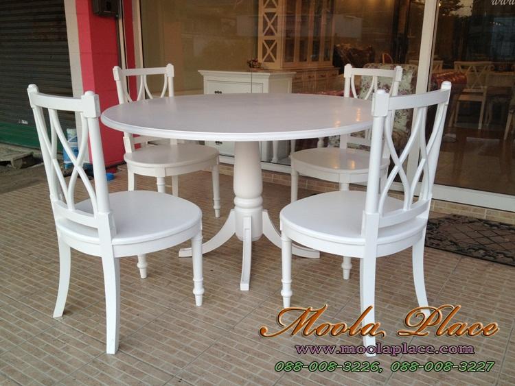 โต๊ะรับประทานอาหารทรงกลม แกะลายสไตล์หลุยส์ แบบวินเทจสวยๆ