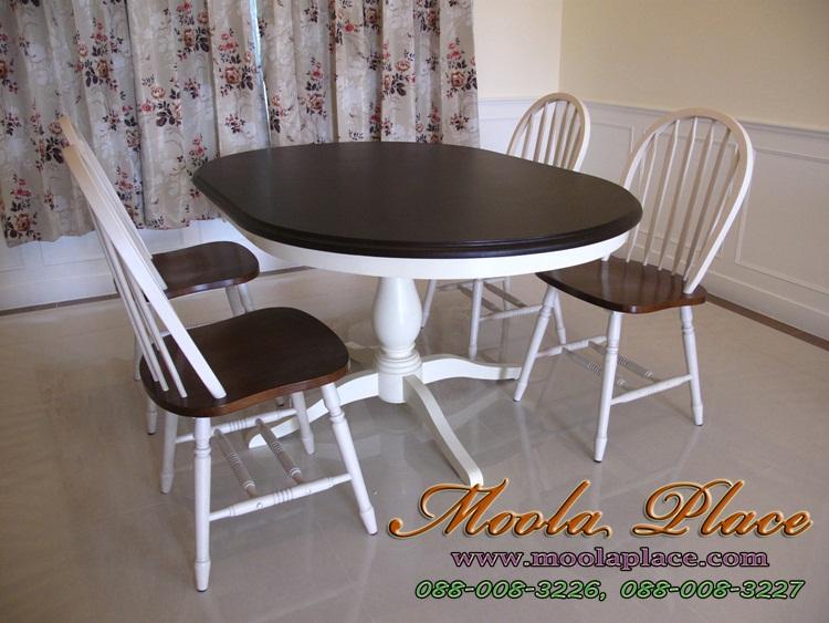 โต๊ะรับประทานอาหารทรงกลม แกะลายสไตล์หลุยส์ แบบวินเทจสวยๆ โต๊ะรับประทานอาหารทรงวงรี ขนาด 150 x 100 x 75 ซม.