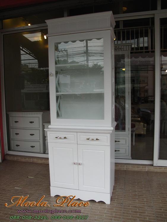 ตู้โชว์ สินค้า วินเทจ สีขาว ราคถูก 70x35x190 ซม.