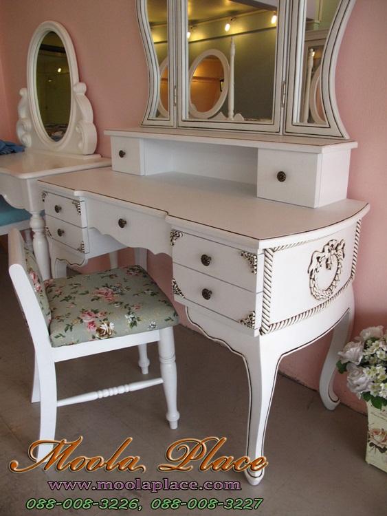 โต๊ะเครื่องแป้งวินเทจ สีขาว แบบโต๊ะเครื่องแป้ง ร้านขายโต๊ะเครื่องแป้งโบราณ