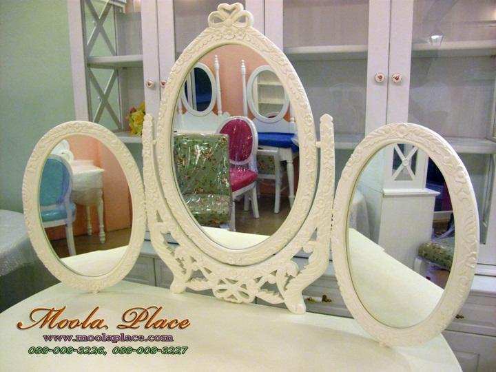 โต๊ะเครื่องแป้งสีขาว,โต๊ะเครื่องแป้งเจ้าหญิง โต๊ะเครื่องแป้ง ขนาด 1.20 เมตร กระจกแกะลาย 3 บาน ด้านข้างและลิ้นชักโต๊ะแกะลาย พร้อมสตูลขาสิงห์
