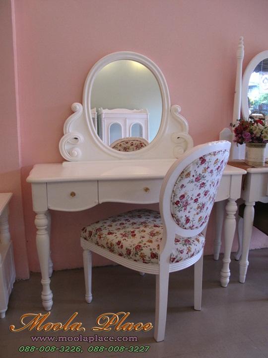 โต๊ะเครื่องแป้งสีขาว, เฟอร์นิเจอร์วินเทจโต๊ะเครื่องแป้ง ขนาด 1.20 เมตร  ตัวกระจกแกะลายเกลียวสวยงาม พร้อมเก้าอี้หลังไข่แกลายกุหลาบ