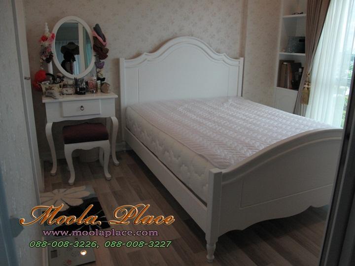 เตียงนอนสไตล์วินเทจ เพ้นท์ลาย ขนาด 5 ฟุต เตียงนอนสีขาว เตียงนอน index